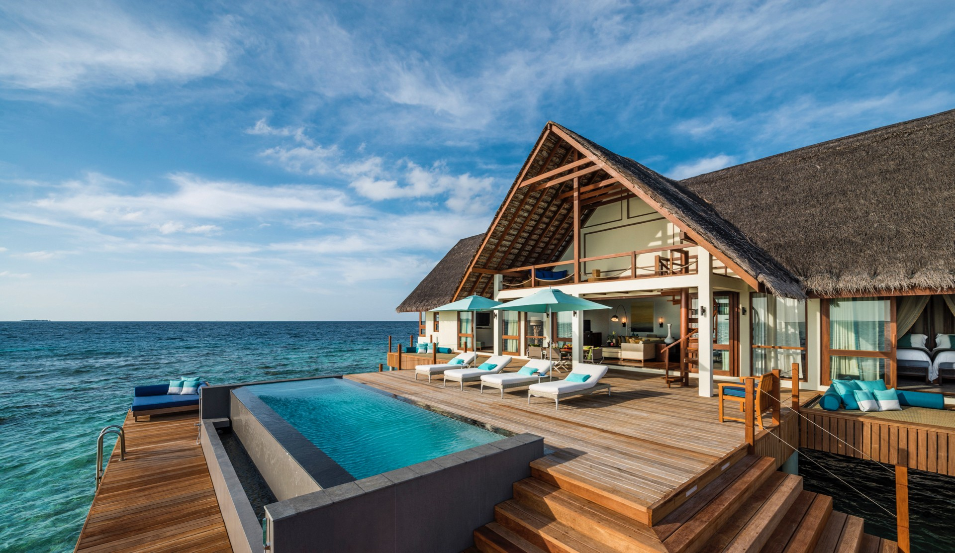Indian Ocean Maldives Four Seasons Landaa Giraavaru Sunrise 2 bedroom Over Water Bungalow